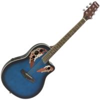 Dimavery - OV-500 Roundback Blue akusztikus gitár elektronikával kék ajándék puhatok