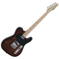 Dimavery - TL-501 Thinline elektromos gitár barna ajándék puhatok