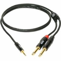 Klotz -  JACK-JACK 0,9 m  Klotz fémházas aranyozott 3,5/JACK3 - 2x6,36/JACK2 csatlakozók + PCD202-Z fekete kábel