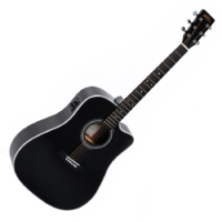 Sigma akusztikus gitár elektronikával, fekete