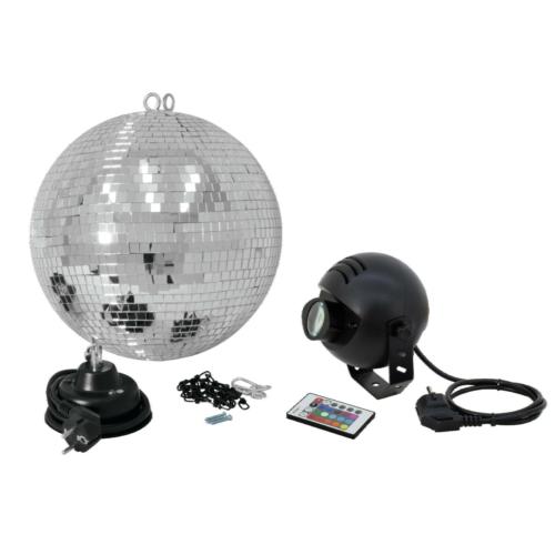 EUROLITE - Tükörgömb 30cm, LED RGB spot RC, MD-1515