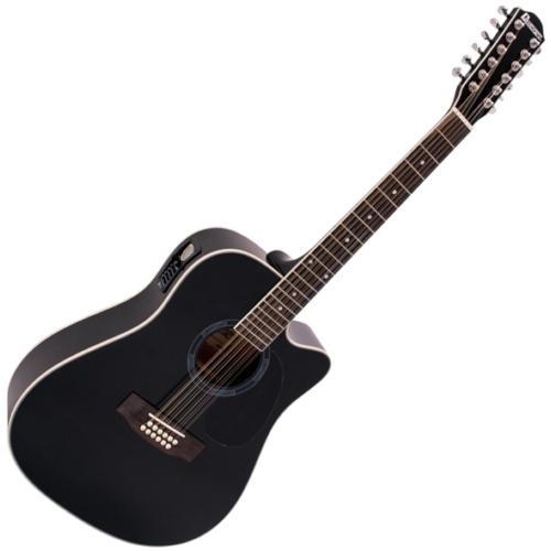 Dimavery - DR-612 Western gitár elektronikával 12 húros fekete