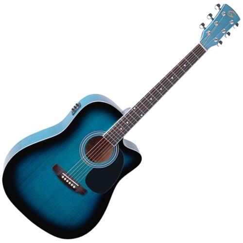 Soundsation - Yellowstone-DNCE-BB akusztikus gitár elektronikával kék-burst