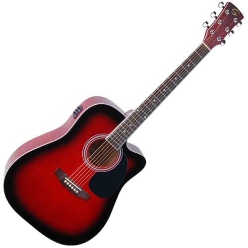 Soundsation - Yellowstone-DNCE-RB akusztikus gitár elektronikával vörös-burst