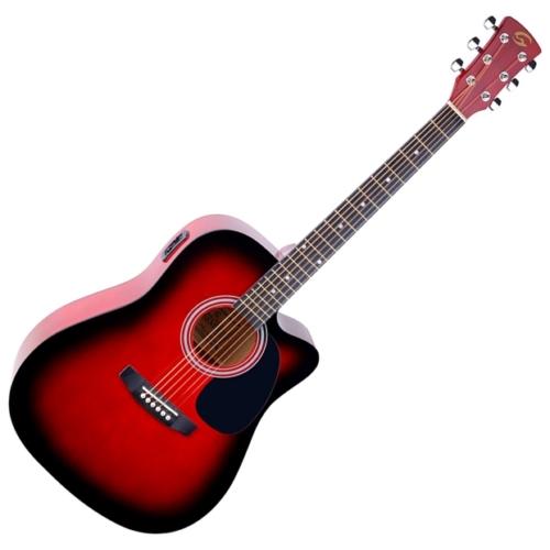 Soundsation - Yosemite-DNCE-RB akusztikus gitár elektronikával vörös-burst