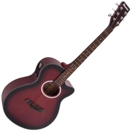 Dimavery - AW-400 Western gitár, elektronikával, hordtáskával, piros burst