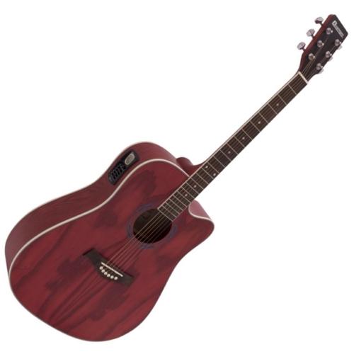 Dimavery - JK-510 Western gitár elektronikával hordtáskával szatén vörös