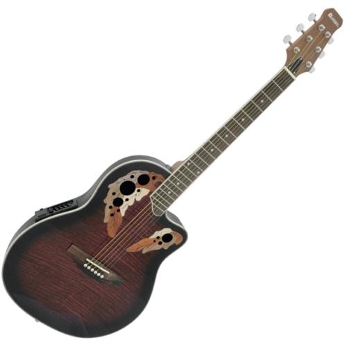 Dimavery - OV-500 Roundback Red akusztikus gitár elektronikával vörös ajándék puhatok