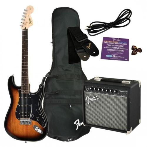Squier - Affinity Stratocaster HSS Brown Sunburst elektromos gitár szett erősítővel