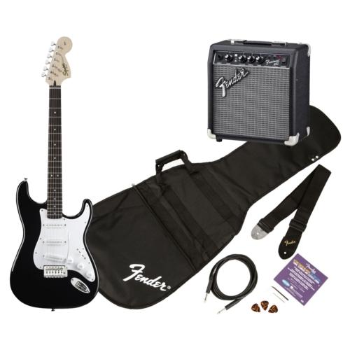 Squier - Affinity Stratocaster Black elektromos gitár szett erősítővel