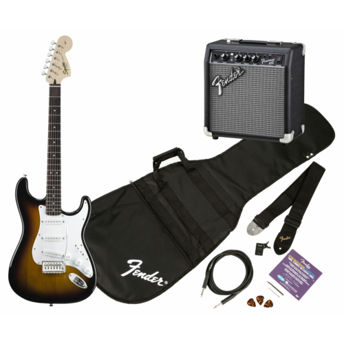 Squier - Affinity Stratocaster Brown Sunburst elektromos gitár szett erősítővel