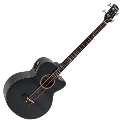 Dimavery - AB-450 akusztikus 4 húros basszusgitár elektronikával fekete, szemből