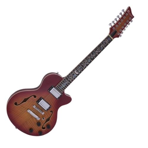 Dimavery - LP-612 elektromos gitár, 12 húros, sunburst láng színben