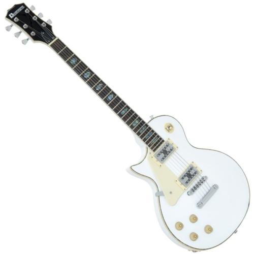 Dimavery - LP-700L balkezes elektromos gitár, hordtáskával, fehér színben