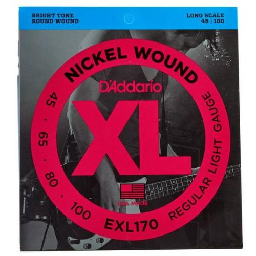 D'Addario - EXL170 Nickel Wound Regular Light Gauge 45-100 elektromos basszusgitár húr