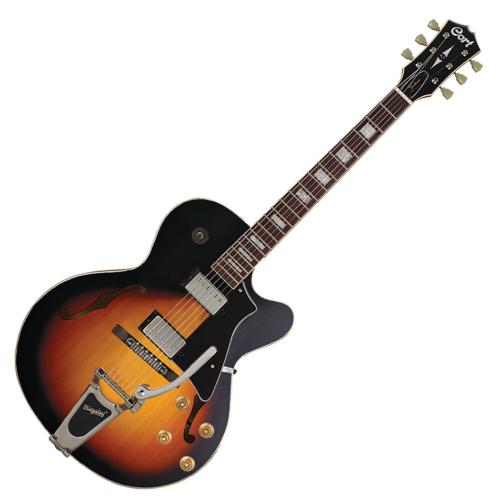 Cort - YorktownBV-TAB with bag félakusztikus gitár tokkal Bigsby-vel tobacco sunburst